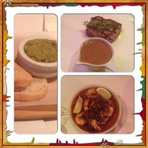 Olive Tapenade, steak, Prawns